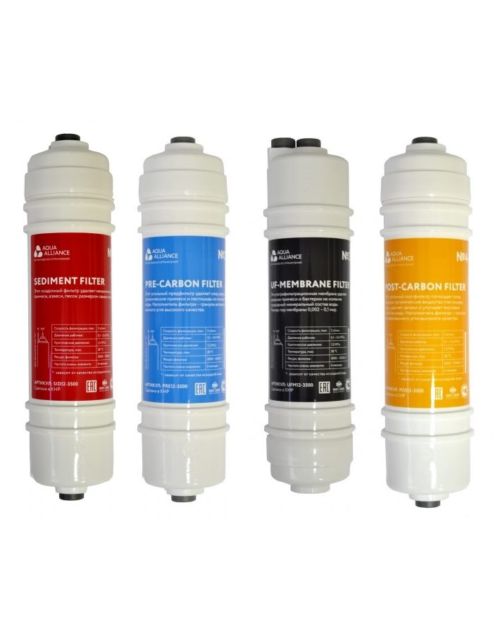 """Комплект фильтров Aquaalliance 12"""" для пурифайеров"""